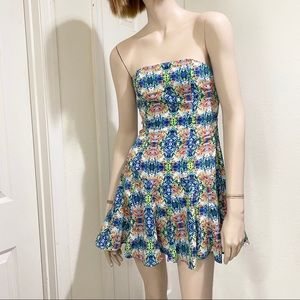 Do&Be Watercolor Printed Cut Out Strapless Dress S